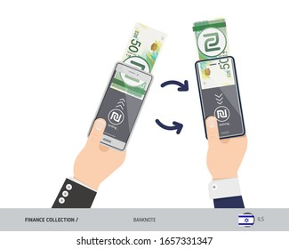 Online money transfer with two hands holding smart phones. 50 Israeli New Shekel banknote with gold coins. Flat style vector illustration.