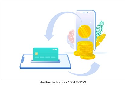 online money transfer vector concept illustration with gold coin card and smartphone, can use for, landing page, template, ui, web, mobile app, poster, banner, flyer