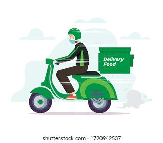 Online Motorcycle Grab Rider Or Driver Illustration Vector Wear Green Jacket And Helmet Riding Scooters To Delivery Food.