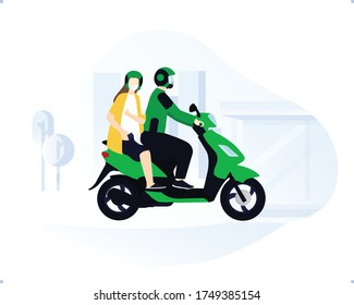 Online Motorcycle taxi driver wearing green jacket and helmet with her costumer riding together with safety ride toolkits and masker with city building silhouette background.