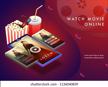 Online movie concept with isomeric set-up, movie playing on smart phone screens with 3D glasses, cold drink and popcorns.