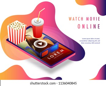 Online movie concept with isomeric set-up, movie playing on smart phone screen with 3D glasses, cold drink and popcorns.