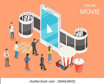 Online movie flat isometric vector concept. Composition with a smartphone and film tape going through it, surrounded by reels, popcorn, glasses and watching pople. Streaming, live cinema and TV.