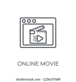 Online movie linear icon. Modern outline Online movie logo concept on white background from Cinema collection. Suitable for use on web apps, mobile apps and print media.