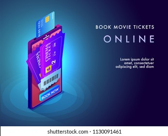 Online movie ticket booking concept by mobile app by credit card or debit card. Isometric design.