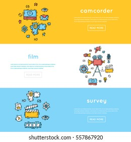 On-line Movies, post production, film and television collection, video-graph-er. Hand drawn vintage style. Flat design vector illustration.