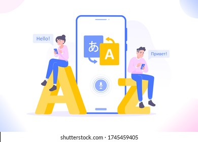 Online multi language translator app concept. Multilingual communication between people. Using translate app on smartphone for learning language. Dialogue between foreign people, vector illustration