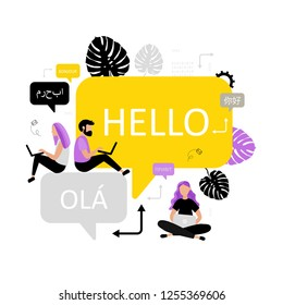 Online multi language translator. Different languages. Translation app. Vector concept with smartphone, dialogue speech bubbles and people. Technology.