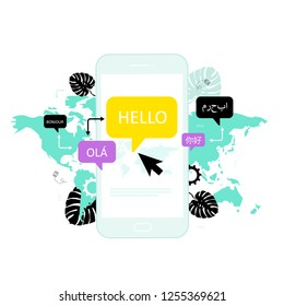 Online multi language translator. Different languages. Translation app. Vector concept with smartphone,  dialogue speech bubbles and world map. Technology.
