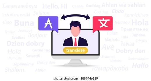 Online multi language translator. Different languages. Translation app. Online translator. The word hello in different languages. Synchronic translation services. Using translator on computer