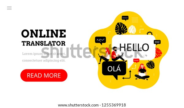 Online multi language translator. Different languages. Translation app. Vector concept with people and dialogue speech bubbles. Technology.Landing page template.