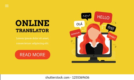 Online multi language translator. Woman on computer talking different languages. Translation app. Landing page template. Modern flat design concept of web page design.