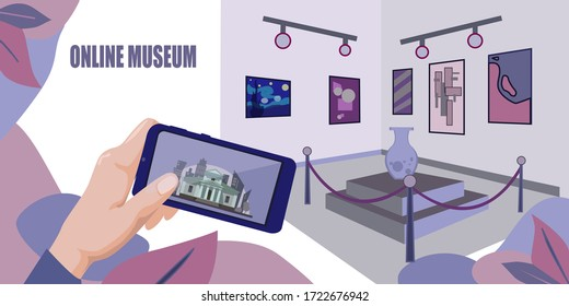 Online museum stock vector illustration. Online Museum Theme Banner. Campaign to the gallery remotely.Online art gallery banner. Online exhibition Tours.Internet technology.Web tourism Vector concept