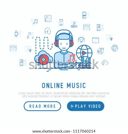 Online Music Concept Man Headphones Listening Stock Vector (Royalty