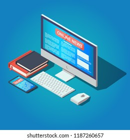 Online news concept illustration. Reading online news on PC and smartphone. Vector isometric illustration.