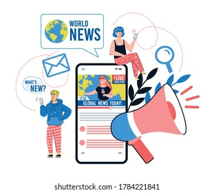 Online news mobile application concept with tiny people cartoon characters sending newsletters and messages, flat vector illustration isolated on white background.