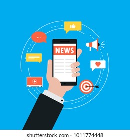 Online news, newspaper, news website flat vector illustration. News update, digital content, internet newspaper, news article for web banner and apps