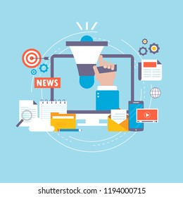 Online news, newspaper, news website flat vector illustration design. News update, digital content marketing, internet newspaper, news article, video content for web banners and apps