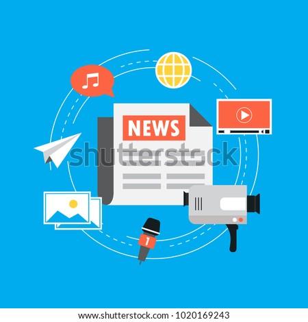 Online News Newspaper News Website Flat Stock Vector Royalty Free