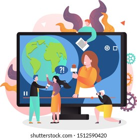 Online news and reportage, vector illustration. Mass media, live, breaking world news and headlines concept with journalists, reporters, newscaster characters for web banner, website page etc.