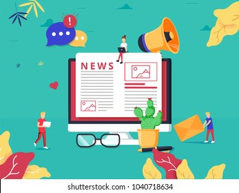 Online news update on internet newspaper. Information website flat vector illustration. Personal blog webpage with info about events, activities or company information and announcements.