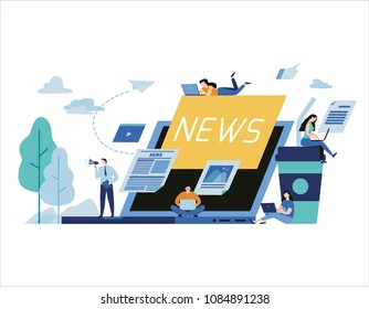 Online news update vector illustration.newspaper information website banner.People announcements business concept.flat cartoon character design for web page mobile