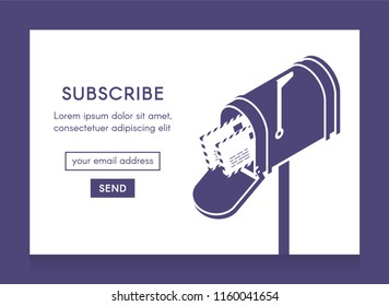 Online newsletter template. Email subscribe form, submit button and open isometric mailbox with envelopes. One-color illustration