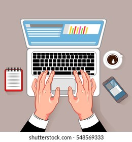 Online notebook working hands composition with coffee cup laptop and smartphone cartoon images on gray background vector illustration