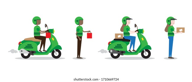 Online Occupation Character Illustration Set of Delivery Service Carrying Package in Green Suit using Scooter Motorcycle