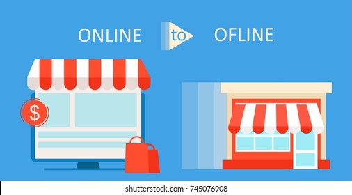 Online To Offline Commerce Definition banner. Shop on site and shop in real life. Involve Seo Users. Vector flat illustration