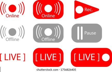 Online and offline logos for internet streaming.