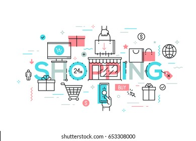 Online and offline shopping, electronic retailers, shops, malls, supermarkets, internet sales and discounts, buying goods. Infographic banner with elements in thin line style. Vector illustration.