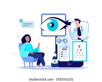Online Ophthalmologist,Oculist Doctor Consultate Patient.Eye Vision Acuity,Snellen Chart.Myopia,Near-sightedness, Farsightedness,Blindness,Treatment. Internet Hospital Diagnostics. Vector Illustration