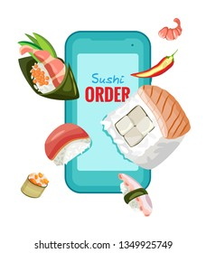 Online order Chinese sushi on smartphone. For design. Vector isolated object on transparent background.