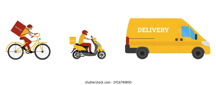 Online order and food express delivery concept. Courier by truck, scooter, and bicycle. Delivery service concept. Flat design. Yellow and red colors. Stock vector illustration on isolated background.