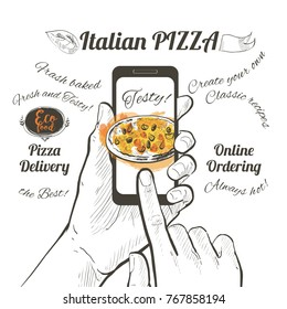 Online order pizza. Order fast food. Hand holding smartphone with pizza on the screen, send button on the screen. Finger touch screen. Vector line illustration on white background.