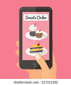 Online order. Sweet choice bakery via internet. Woman hand with mobile. Flat vector illustrations.