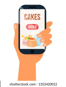 Online Order Sweets and Cookie Poster Vector Illustration. Choose Bakery via Internet. Human Hand with Gadget. Smartphone Screen with Cake Shop Menu, Buying Pastry on Mobile App. Dessert Delivery.