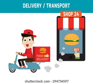 online ordering and fast food delivery service. Goods delivery man hipster is riding  motorbike.
