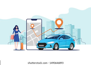 Online ordering taxi car, rent and sharing using service mobile application. Woman near smartphone screen with route and points location on a city map on the car and urban landscape background.