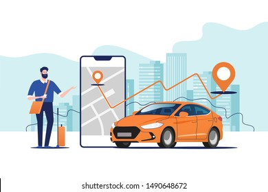 Online ordering taxi car, rent and sharing using service mobile application. Man near smartphone screen with route and points location on a city map on the car and urban landscape background.
