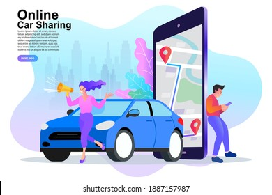 Online ordering taxi car, rent and sharing using service mobile application. Man searching cab on city map. Vector illustration.