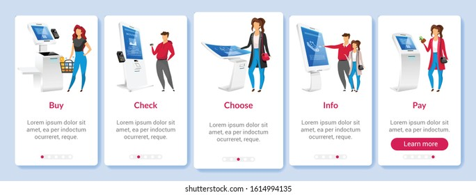 Online paying onboarding mobile app screen flat vector template. Self order kiosk walkthrough website steps with characters. E shopping software UX, UI, GUI smartphone cartoon interface