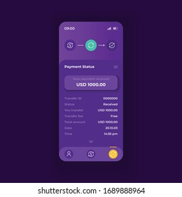 Online payment application smartphone interface vector template. Mobile app page dark theme design layout. Transaction status screen. Flat UI for application. Money transfer details on phone display