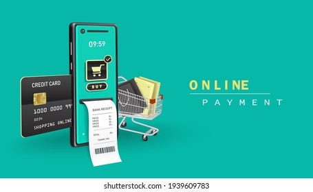 online payment with application smartphone and shopping online with application mobile,and payment receipt paper as visual elements and Insert the atm card and credit card in the card slot