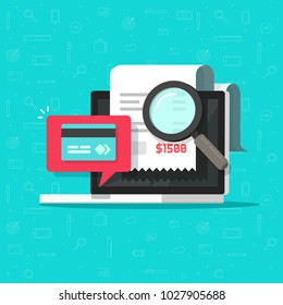 Online payment audit analyzing on computer vector illustration, pay bill research on laptop concept, financial transaction accounting verification concept, tax or banking control flat cartoon icon