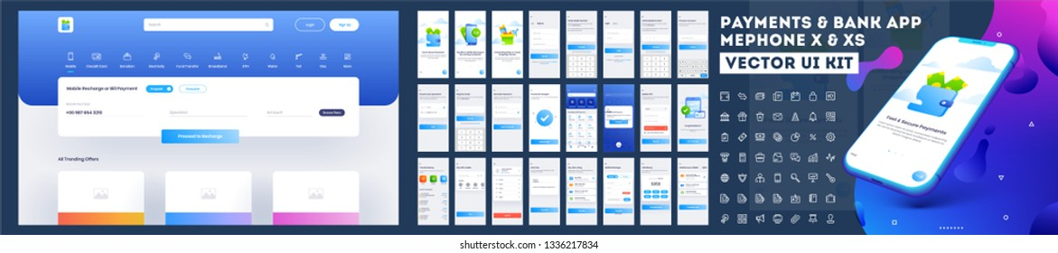 Online Payment or Banking App UI Kit with website menu like as, credit cards, saving, checking accounts and transaction confirmation.
