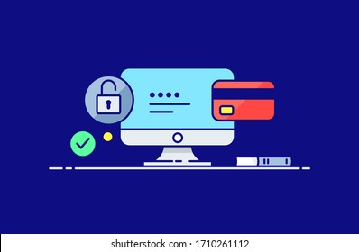 Online payment by banking card and finance security icon in flat line style. Design concept of vector illustration isolated on color background for website and mobile apps.