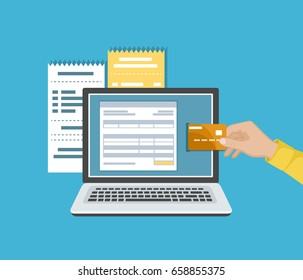 Online payment concept. Payment of bills, checks, online shopping via mobile app. E-commerce, electronic business. Man's hand with a credit card and laptop. Vector illustration on a blue background