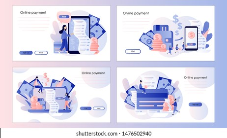 Online payment concept. Digital bill. Screen template for mobile smart phone, landing page, template, ui, web, mobile app, poster, banner, flyer. Modern flat cartoon style.  Vector illustration